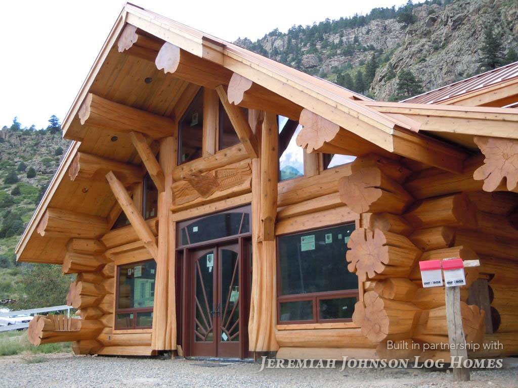 Handcrafted log home anderson handcut moore log for Timber log home plans